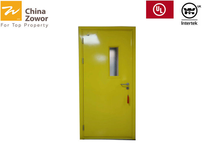 45mm Yellow Color Single Leaf FD60 Steel Fire Door With Glass Window Size 48''X84''